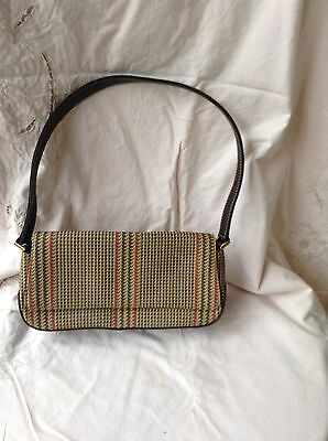 Vintage retro LIZ Claiborne clutch shoulder bag, Brown with tan and red accents.