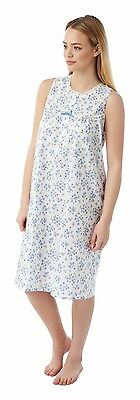 Ladies Sleeveless Poly Cotton Floral Nightdress Size 10-30 3 Colours by Marlon