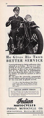 """1920's Vintage Indian Motorcycle """"Better Service""""  Police Motorcycle Print Ad"""