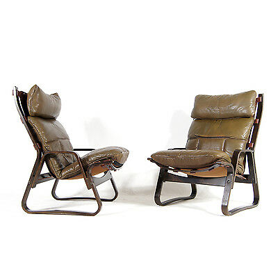 1 of 2 Retro Vintage Danish Rosewood Leather Lounge Easy Chair Armchair 60s 70s
