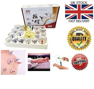 HQ 18 pcs Vacuum Cupping Set with magnetic heads Acupuncture therapy banki uk