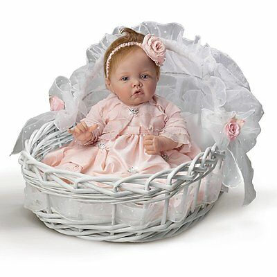 Ashton Drake Pretty As A Princess Lifelike Baby Doll By Elly Knoops with basket