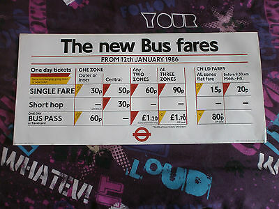 London Transport Routemaster Interior Poster-New Bus Fares