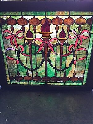 Sg 1180 Antique Vibrant Triple Torch Stained Glass Window