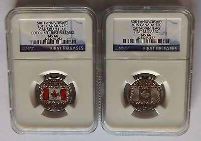 2015 Canada Ngc Fr Ms66 50Th Anniv. Canada Flag Colorized & Frosted 25C Set!!!