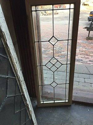 """Sg 1186 Antique Beveled Leaded Glass Transom 13 1/8 X38 1/4"""""""