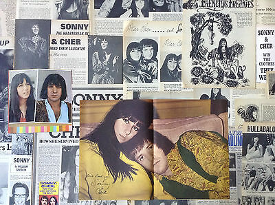 Lot Vintage Clippings ~ SONNY & CHER ~ 1960s Photos / Stories ~ Pin-Up Poster
