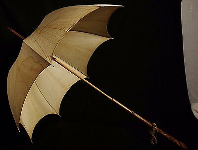 White Walking Parasol - Edwardian or Late Victorian - Carved Handle - Good Cond.