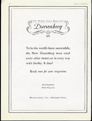 DUESENBERG Auto Car Ad - Eighty Five Hundred Dollars in February 1929