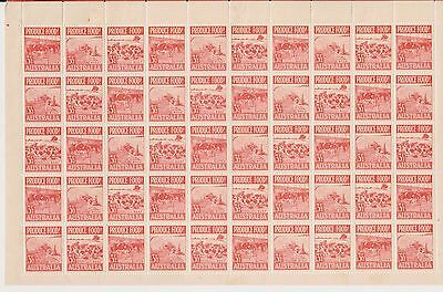 (OAC-148) 1953 AU 3½d red food production sheet of 50stamps (some marks on Gum)