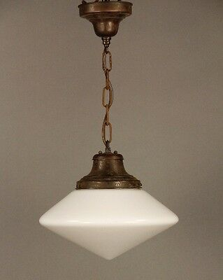 1930s Antique School House Pendant Light Vintage Milk Glass Lighting (10000)