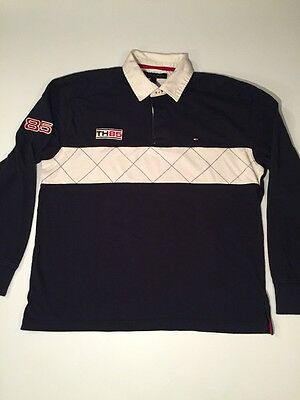 Tommy Hilfiger Long Sleeve Polo Men's L Rugby Blue Red TH85 Large