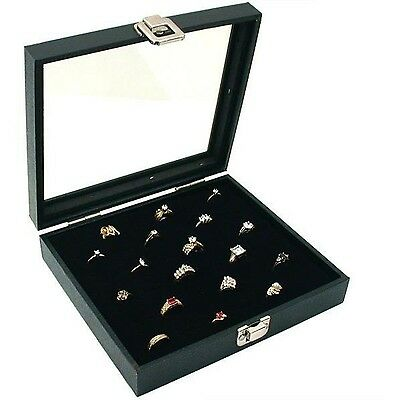 Jewelry Display Case Box Slot Ring Tray Holder Organizer Storage Top Glass Show