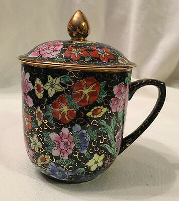 Tea cup with Lid, Gold Edging, Hand-Painted, Mug, Floral, New