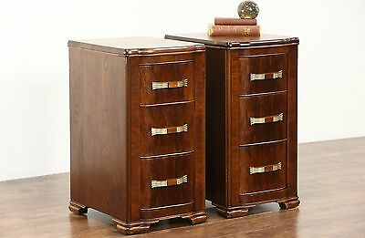 Pair Art Deco 1935 Vintage Walnut Nightstands, Original Pulls