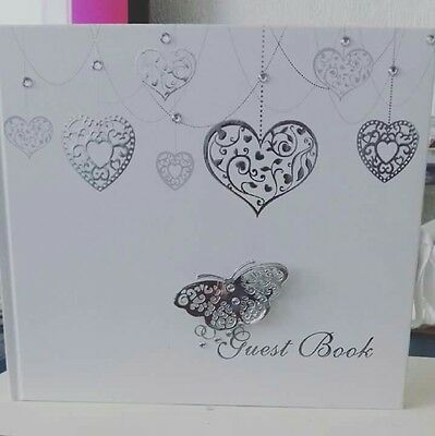 Heart wedding guest book with butterfly detail and diamantes