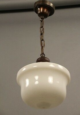 1930s Vintage Milk Glass Pendant Light Antique School House Lighting (9986)