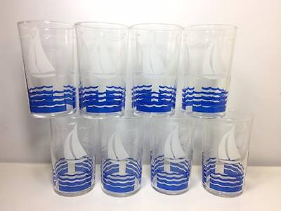 Set of 8 vintage Anchor Hocking blue and white sailboat glasses