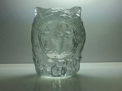 Vintage Pukeberg glass owl paper weight