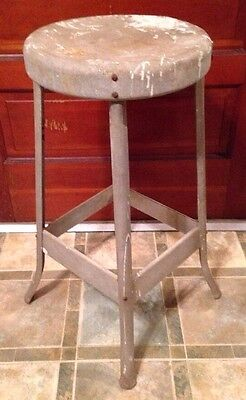 Vintage Metal Stool - Shabby Chic - Industrial - Sturdy - Workshop -