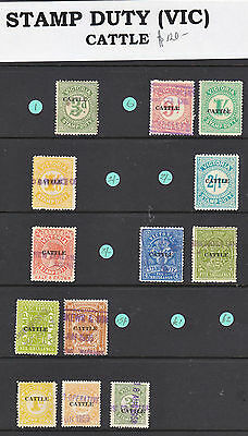 """Victoria Stamp Duty 1951    """"cattle""""  13 Stamps All Used"""