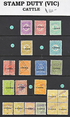 """Victoria Stamp Duty 1960    """"cattle""""  20 Stamps All Used"""
