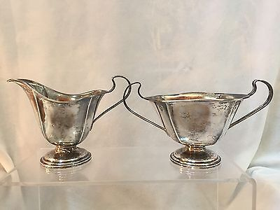 Antique Webster Sterling Creamer And Sugar Bowl