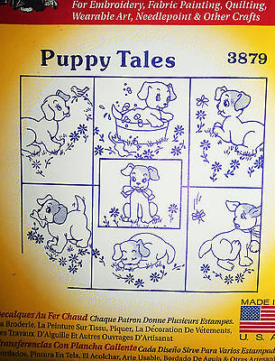 "Aunt Martha's Hot Iron Transfer # 3879  ""Puppy Tales """