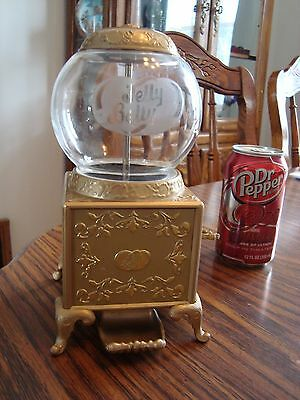 Jelly Belly Gold Jelly Bean /gum ball Dispenser With Glass Top 2007