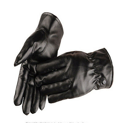 Coral Fleece Lined Black Mittens Touch Screen Gloves PU Leather Gloves Winter