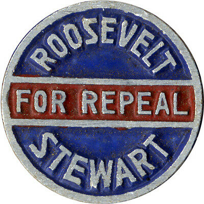 1932 Franklin Roosevelt Prohibition REPEAL New Jersey Senate Coattail Pin (5219)