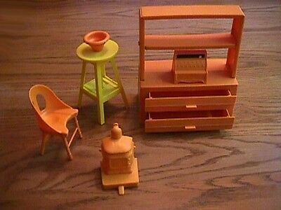 1970's Sunshine Family Large 2 Drawer Wall Unit Pottery Stool Stove Chair & More