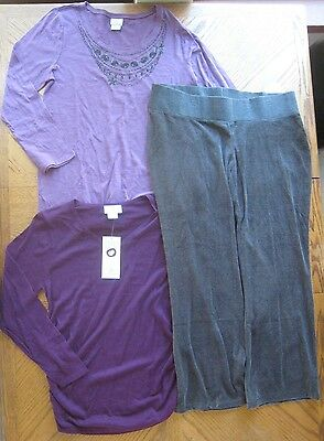 NEW Maternity clothes Lot Size XL Purple Tops Under Belly Pants $126 Winter NWT