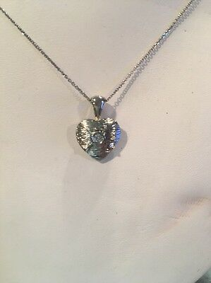 14k White Gold Heart Pendant With .07 TCW 1 Genuine Round Diamonds With Chain