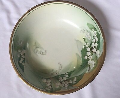 Antique RS Germany Prussia Bowl Green Floral