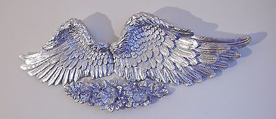 Angel Wings With Love Rose Wall Plaque Silver Natural Antique Decor