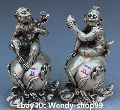"""6"""" Chinese Fengshui Silver Wealth Yuanbao Animal Money Seat peach Pair Statue"""