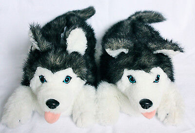 Husky Dog Slippers by Ani-Mate, Large 10 12