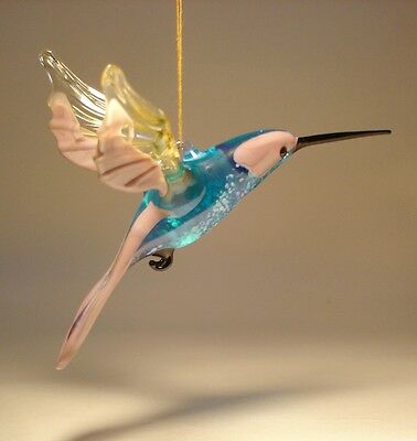 Blown Glass Figurine Art Bird Lilac, Blue & Clear Hanging HUMMINGBIRD Ornament