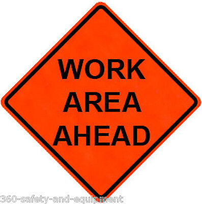 "Work Area Ahead 48"" X 48"" Vinyl Fluorescent Roll Up Sign With Ribs"