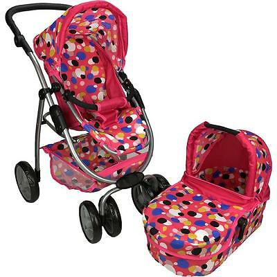 NEW Girls Pretend Play Deluxe Doll Pram with Doll Carry Cot - Polka Dots