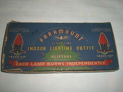 Vintage Paramount Straitline Lighting Outfit Christmas Tree Lights Green Caps