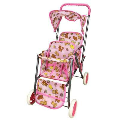 NEW Girls Pretend Play Tandem Doll Stroller - Pink
