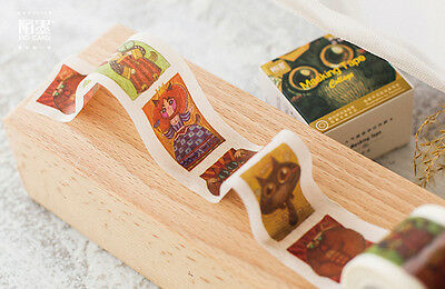 cat owl Little monsters vintage Washi paper Masking Tape collage Decal sticker