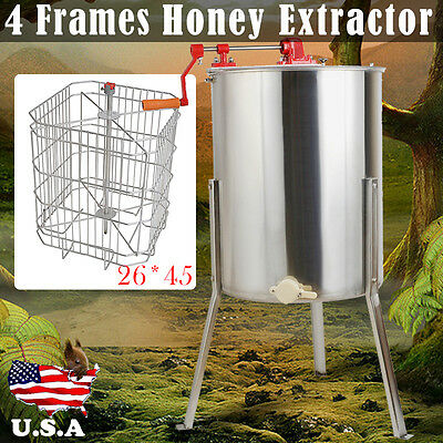 NEW 4/8 Frame Beekeeping Equipment Large Stainless Steel Honey Extractor