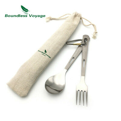 Boundless Voyage Titanium Flatware Set Spoon Fork Ultralight 2pcs Set Ti1559B