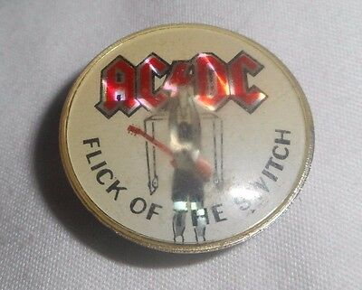 AC DC Pin Vintage 80's Flick Of The Switch prism reflective Lapel Badge