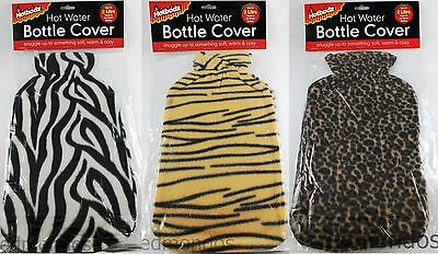 Hot Water Bottle Cover Animal Zebra Tiger Leopard Fleece For 2 Litre Bottles