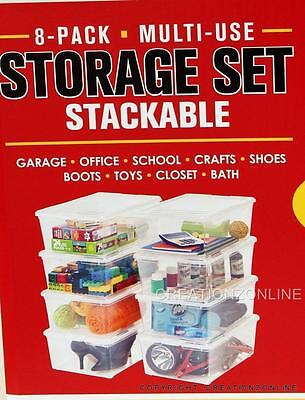 IRIS 8 pack Multi USE Large Clear Plastic Storage Container Boxes Stackable USA
