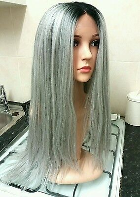 Real Human Hair Wig, grey, white, Silver, Lace Front, Long, Ombré,